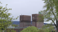 Oslo City Hall distant view Stock Footage