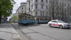 Old Tram transport in Oslo City Stock Footage