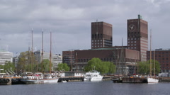 Oslo City Hall view from port Stock Footage