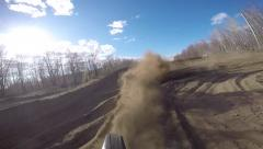 Unique motocross rear view of riding Stock Footage