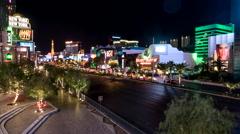Time-Lapse shot of Las Vegas Blvd by night - Timelapse Vegas Stock Footage