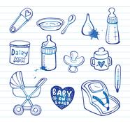 Infant  doodle Icon set - stock illustration
