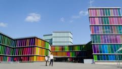 4K Timelapse of the modern and colorful MUSAC Modern Art Museum of Leon, Spain Stock Footage