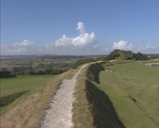 Ruins of Old Sarum - pan site of the earliest settlement of Salisbury Stock Footage