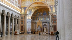 Altarpiece of Basilica of St. Paul Outside the Walls. Rome, Italy Stock Footage