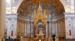 Altarpiece of Basilica di San Paolo fuori le Mura. Rome, Italy Stock Footage