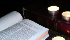 Rotation The Book Of The Bible By Candlelight Stock Footage