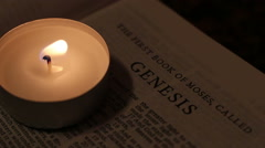 The Book Of The Bible By Candlelight Stock Footage