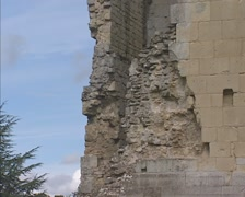 Tilt up ruins of a stone wall of Old Wardour Castle, WILTSHIRE, ENGLAND Stock Footage