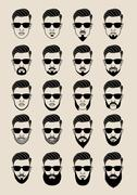 faces with beard, user, avatar, vector icon set - stock illustration