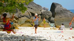 SIMILAN ISLANDS, THAILAND - CIRCA FEB 2015: Tourists participating in various Stock Footage