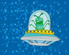 Stock Illustration of Extraterrestrial in a flying saucer