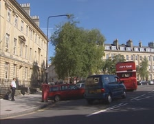Fire brigade rushing through Great Pulteney street - tracking shot Stock Footage