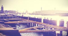 Vintage toned photo of a port infrastructure - stock photo