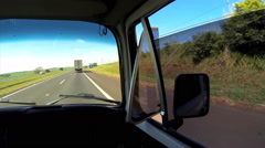 Driving car on Rodovia Castelo Branco, Sao Paulo, Brazil. Camper, VW. Stock Footage
