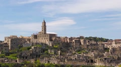 Panoramic view of Matera,basilicata, Italy. UNESCO Stock Footage