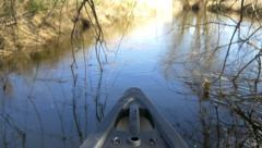 River trip canoe boat reflections water 4k adventure holidays amazon jungle Stock Footage