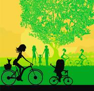 Mother and daughter biking in the park - stock illustration