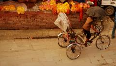 Cycle rickshaws ply the Kathmandu Durbar Square, Nepal Stock Footage