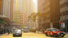 HONG KONG, CHINA - CIRCA JAN 2015: Early morning commute at a major downtown Stock Footage