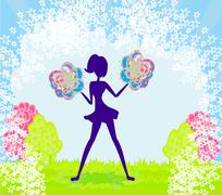 Stock Illustration of Abstract cheerleader girl poster