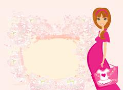 Stock Illustration of Beautiful pregnant woman on shopping for her new baby