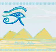 Egypt symbols and Pyramids - Traditional Horus Eye symbol and camel silhouett Stock Illustration