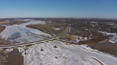 Ice Flow seen from the air on Maumee River Stock Footage