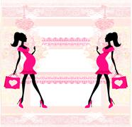 Beautiful pregnant woman on shopping - card Piirros