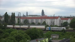 ULTRA HD 4K Aerial view Dresden cityscape goods train pass cargo carriage day Stock Footage