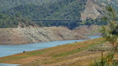 4K Don Pedro Reservoir 05 Dam at low water level California Yosemite Stock Footage
