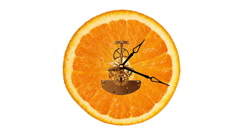 Orange clock on the white background, Timelapse - stock footage