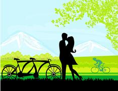 sillhouette of sweet young couple in love standing in the park - stock illustration