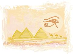Egypt symbols and Pyramids - Traditional Horus Eye symbol and camel silhouett - stock illustration