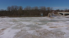 River Ice Flow aerial view moving backwards and ascending Stock Footage