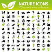 nature icons collection - stock illustration