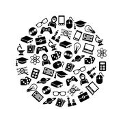 geek icons in circle - stock illustration