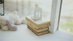 Decorative toy on a shelf with books Stock Footage