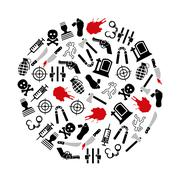 murder icons in circle - stock illustration