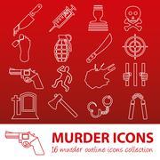 murder outline icons - stock illustration