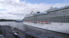 Huge Cruise Ship arriving Oslo Norway pan left to right Stock Footage