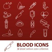 blood outline icons - stock illustration