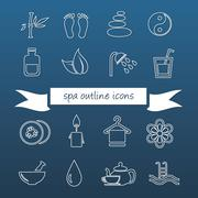 spa outline icons - stock illustration