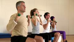 Fitness exercises at gym Stock Footage