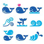 Whale, sea or ocean waves blue icons set Stock Illustration