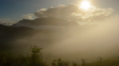 Remetea valley fog rising 4K Stock Footage