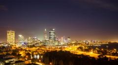 Night Time Lapse Of Perth City Skyline 2014 Stock Footage