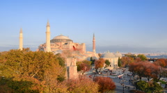 Hd Time Lapse Of The Hagia Sophia in Autumn Stock Footage