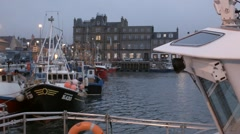Kirkwall Harbour, Orkney at dusk. Stock Footage