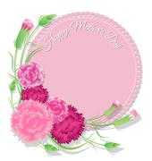 Carnation with pink background for Mothers Day card Stock Illustration
